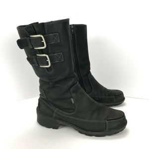 Ecco Womens Black Leather Gore-Tex Ridding Boots